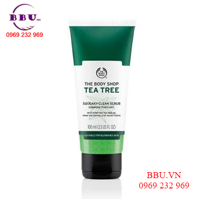 Gel Tẩy da chết the body shop tea tree squeaky- clean scrub