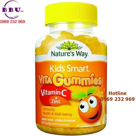 Kẹo dẻo bổ sung vitamin C và kẽm cho bé của Nature's way kids smart Vita Gummies 60 viên của Úc